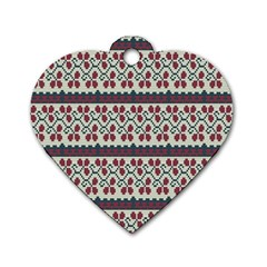Winter Pattern 5 Dog Tag Heart (two Sides)