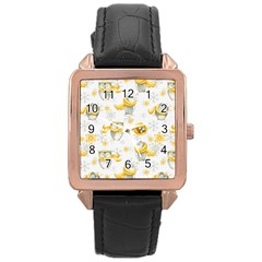 Winter Pattern 6 Rose Gold Leather Watch