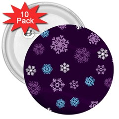 Winter Pattern 10 3  Buttons (10 Pack)