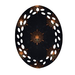 Winter Pattern 11 Oval Filigree Ornament (two Sides)