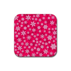 Winter Pattern 13 Rubber Square Coaster (4 Pack)