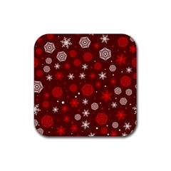 Winter Pattern 14 Rubber Square Coaster (4 Pack)