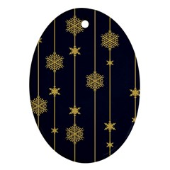 Winter Pattern 15 Oval Ornament (two Sides)