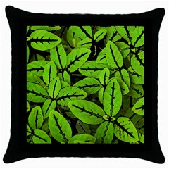 Nature Print Pattern Throw Pillow Case (black)