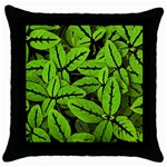 Nature Print Pattern Throw Pillow Case (Black) Front