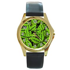 Nature Print Pattern Round Gold Metal Watch