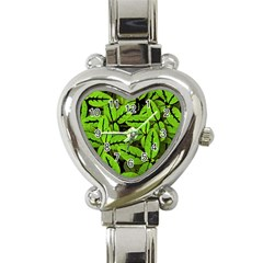 Nature Print Pattern Heart Italian Charm Watch