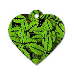 Nature Print Pattern Dog Tag Heart (two Sides)