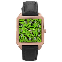 Nature Print Pattern Rose Gold Leather Watch
