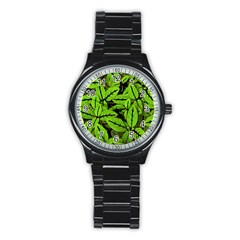 Nature Print Pattern Stainless Steel Round Watch