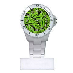 Nature Print Pattern Plastic Nurses Watch