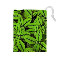 Nature Print Pattern Drawstring Pouches (large)