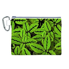 Nature Print Pattern Canvas Cosmetic Bag (l)