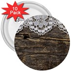 Shabbychicwoodwall 3  Buttons (10 pack)  Front