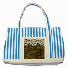 Shabbychicwoodwall Striped Blue Tote Bag