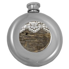 Shabbychicwoodwall Round Hip Flask (5 Oz)