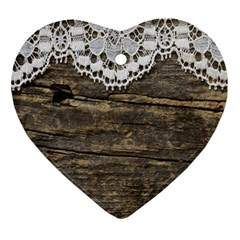 Shabbychicwoodwall Heart Ornament (two Sides)