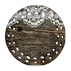 Shabbychicwoodwall Round Filigree Ornament (two Sides)