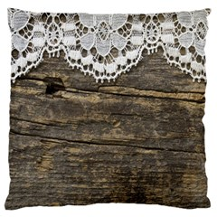 Shabbychicwoodwall Large Cushion Case (one Side)