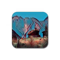 Modern Norway Painting Rubber Square Coaster (4 Pack)