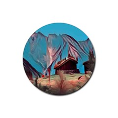 Modern Norway Painting Rubber Round Coaster (4 Pack)