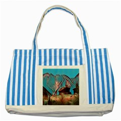 Modern Norway Painting Striped Blue Tote Bag