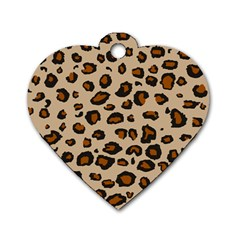 Leopard Print Dog Tag Heart (two Sides)
