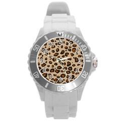 Leopard Print Round Plastic Sport Watch (l)