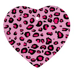 Pink Leopard Heart Ornament (two Sides)