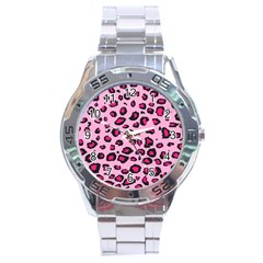 Pink Leopard Stainless Steel Analogue Watch