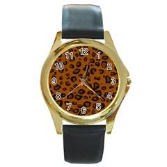 Dark Leopard Round Gold Metal Watch