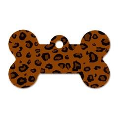 Dark Leopard Dog Tag Bone (two Sides)