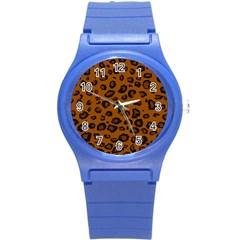 Dark Leopard Round Plastic Sport Watch (s)