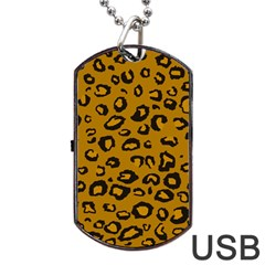 Golden Leopard Dog Tag Usb Flash (two Sides)