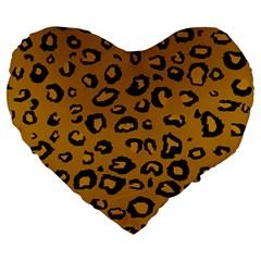 Golden Leopard Large 19  Premium Heart Shape Cushions