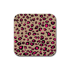 Pink Leopard 2 Rubber Square Coaster (4 Pack)