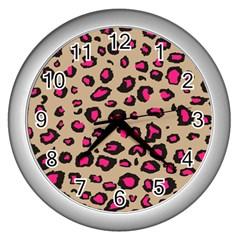 Pink Leopard 2 Wall Clocks (silver)