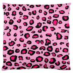 Pink Leopard Large Flano Cushion Case (two Sides)