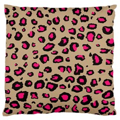 Pink Leopard 2 Large Flano Cushion Case (two Sides)