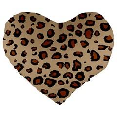 Leopard Print Large 19  Premium Heart Shape Cushions
