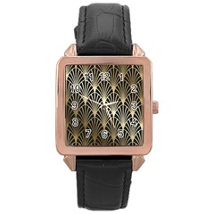 Art Deco Rose Gold Leather Watch