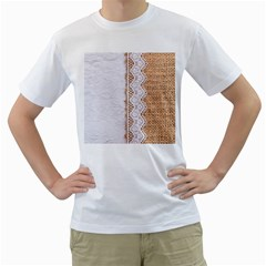 Parchement,lace And Burlap Men s T Shirt (white) (two Sided)