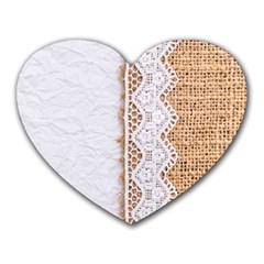 Parchement,lace And Burlap Heart Mousepads