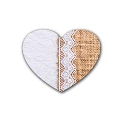 Parchement,lace And Burlap Heart Coaster (4 Pack)