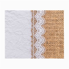 Parchement,lace And Burlap Small Glasses Cloth (2 Side)