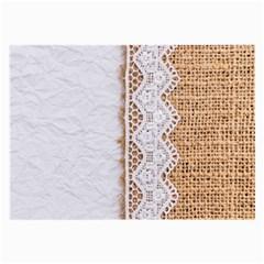 Parchement,lace And Burlap Large Glasses Cloth (2 Side)