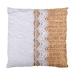 Parchement,lace And Burlap Standard Cushion Case (two Sides)