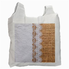 Parchement,lace And Burlap Recycle Bag (one Side)