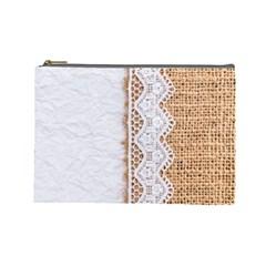 Parchement,lace And Burlap Cosmetic Bag (large)