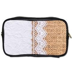 Parchement,lace And Burlap Toiletries Bags 2 Side